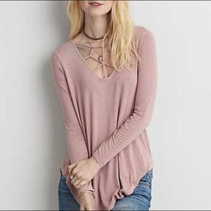 AEO soft cage front long sleeve top